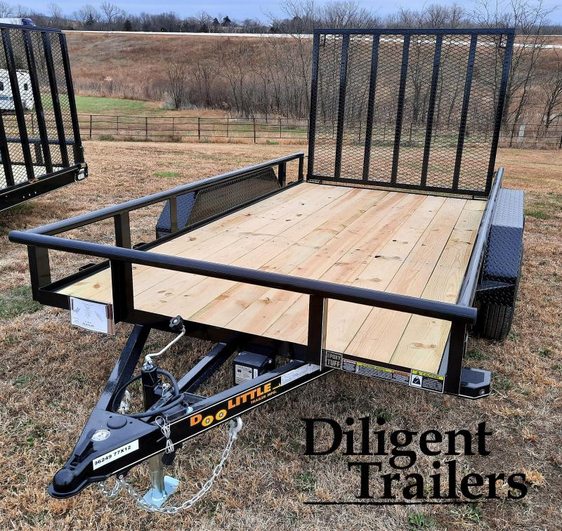 "2021 Doolittle Trailer Mfg 77"" x12' Tandem Axle 7K Utility Trailer"