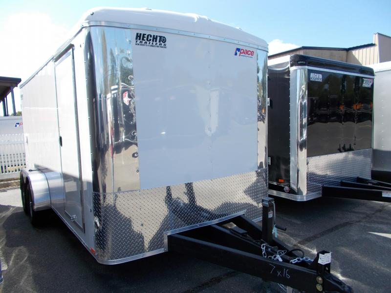 2020 Pace American 7X16 CLS TE2 18T 6X RAMP SVNT WHITE Enclosed Cargo Trailer