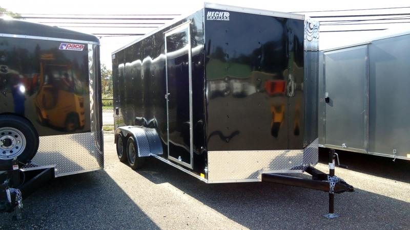 "2022 Pace American 7X16 OBDLX TE2 V 12""X RAMP+ SVNT BLACK Enclosed Cargo Trailer"