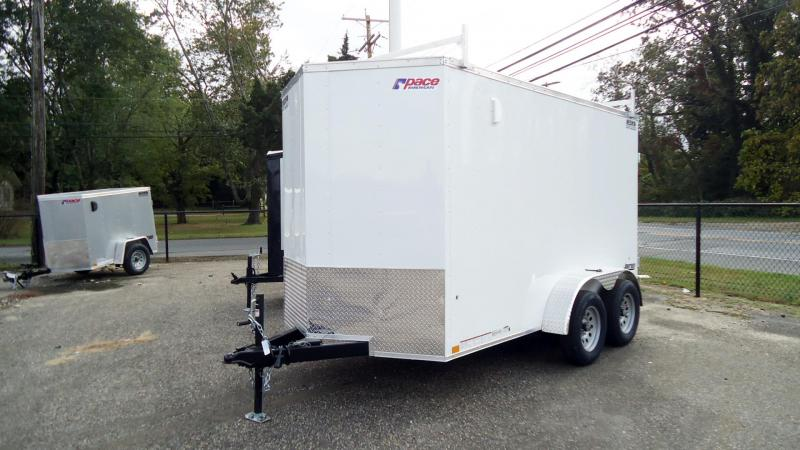 """2022 Pace American 6X12 JV TE2 V 6""""X LAD RCK SVNT WHITE Enclosed Cargo Trailer"""