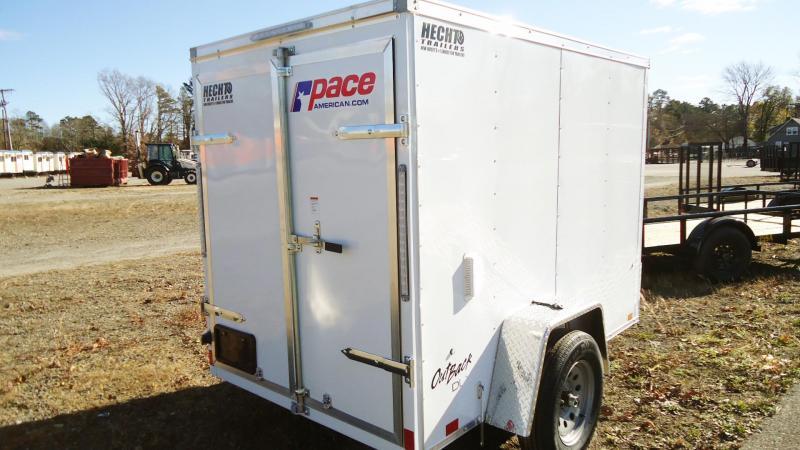 2021 Pace American 5X8 OBDLX SI2 24VS DRD SVNT WHITE Enclosed Cargo Trailer