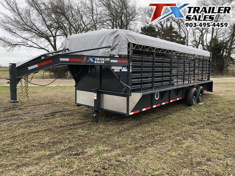 2021 East Texas Trailers 24' Bar Top GN Livestock Trailer