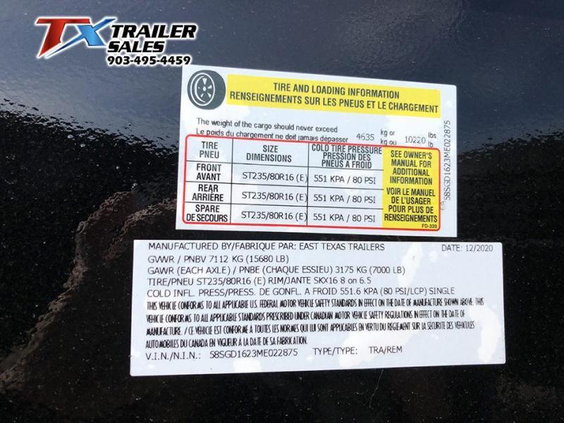 2021 East Texas 83'' X 16' X 3' Gooseneck Dump Trailer