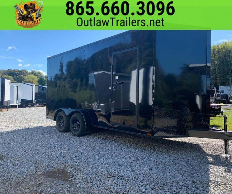 New 2020 Outlaw 7 X 16 Black Out Enclosed Trailer 7K