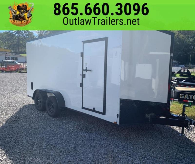 New 2020 Outlaw 7 X 16 White Black Out Enclosed Trailer 7K
