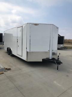 2021 H&H WHITE 8.5X20 TANDEM FLAT TOP V-NOSE ENCLOSED CRGO TRAILER