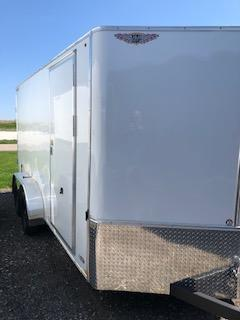2022 H&H 7x14 WHITE FLAT TOP V-NOSE TANDEM AXLE CARGO TRAILER