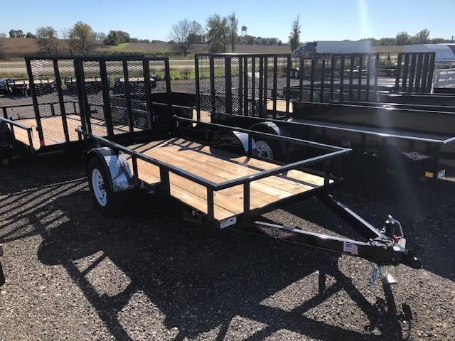 "2021 H AND H BLACK 66""X10 STEEL RAIL SIDE SINGLE AXLE"