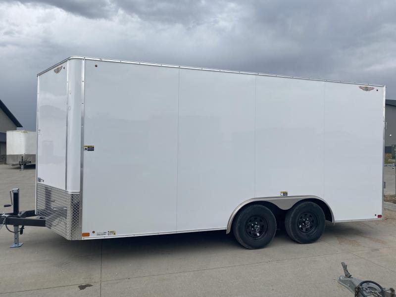 2022 H&H White 8.5x16 7K Tandem Flat Top V-Nose Enclosed Cargo Trailer