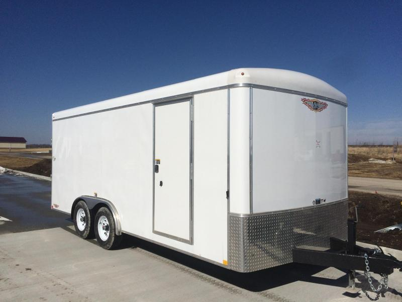 2020 H&H WHITE 7'X16' ROUND-TOP ROUND-NOSE 10K CARGO TRAILER