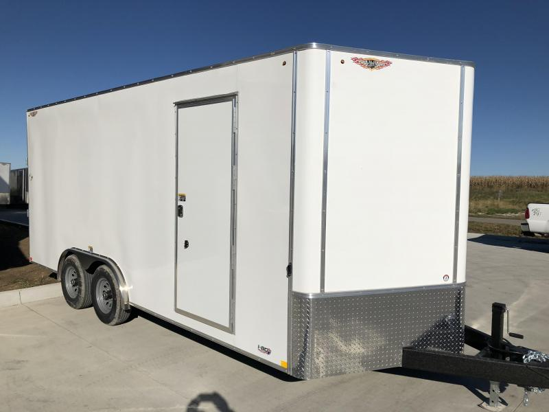 2021 H&H 8x16 WHITE TANDEM FLAT TOP V-NOSE 7K CARGO TRAILER