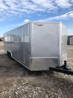 2021 H AND H 8.5X20 SILVER MIST FLAT TOP V-NOSE 10K ENCLOSED CAR HAULER
