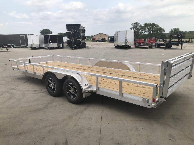 2021 H&H Trailers Aluminum 82x20 7K Tandem Axle Rail Side Utility Trailer