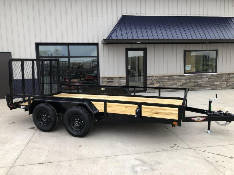 2021 H&H BLACK 82X14 STEEL RAIL SIDE 7K TANDEM UTILITY TRAILER