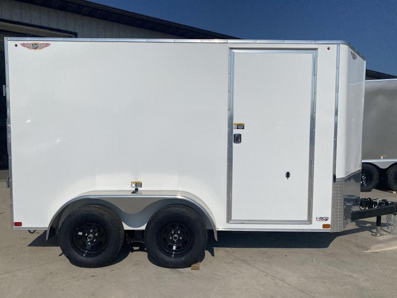 2022 H&H White 6x12 Tandem Flat Top V-Nose Enclosed Cargo Trailer