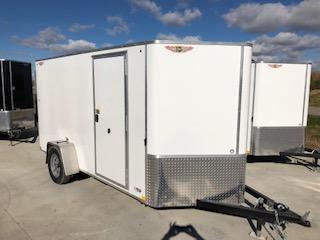 2021 H&H WHITE 7x12 FLAT TOP V-NOSE SINGLE AXLE CARGO TRAILER