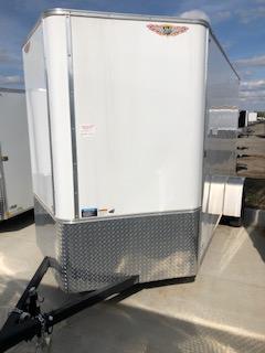 2021 H&H 6x12 WHITE FLAT TOP V-NOSE SINGLE AXLE CARGO TRAILER
