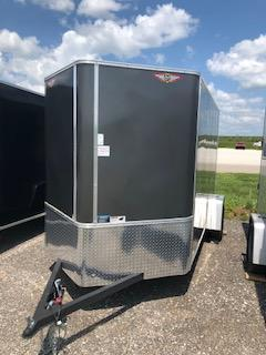 2021 H&H  6x10 CHARCOAL FLAT TOP V-NOSE SINGLE CARGO TRAILER