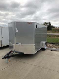 2021 H AND H 6x14 SILVER MIST FLAT TOP V-NOSE SINGLE AXLE CARGO TRAILER