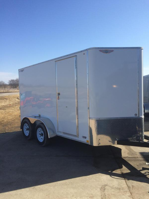 2021 H&H WHITE 6X12 TANDEM FLAT TOP V-NOSE 7K CARGO TRAILER