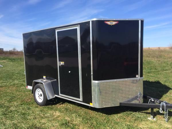 2021 H&H  6x10 BLACK FLAT TOP V-NOSE SINGLE CARGO TRAILER