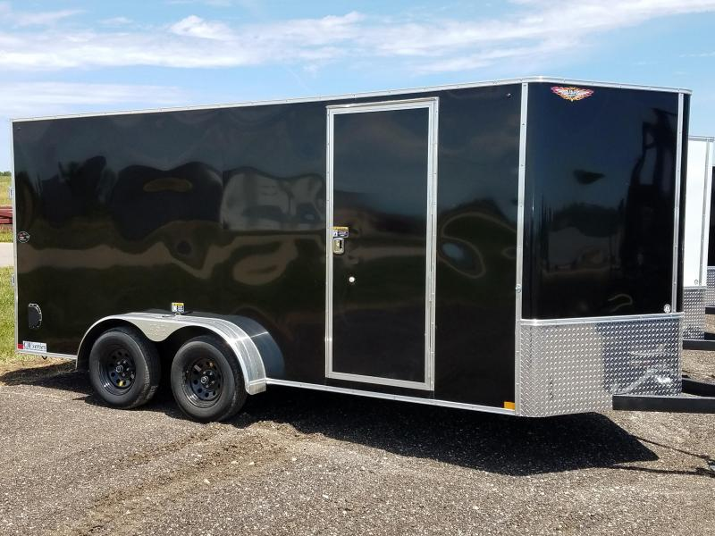 2021 H&H 7x16 BLACK 7X16 FLAT TOP V-NOSE TANDEM AXLE CARGO TRAILER