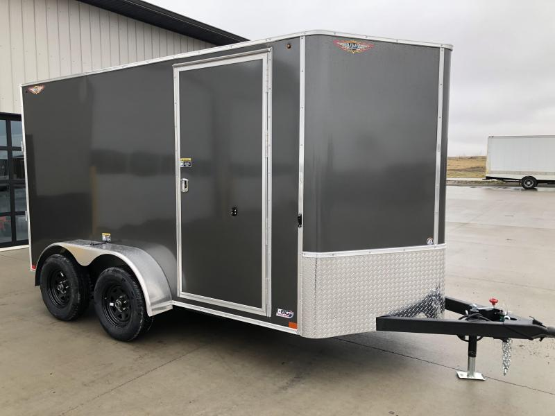 2021 H AND H 7x14 CHARCOAL FLAT TOP V-NOSE TANDEM AXLE CARGO TRAILER