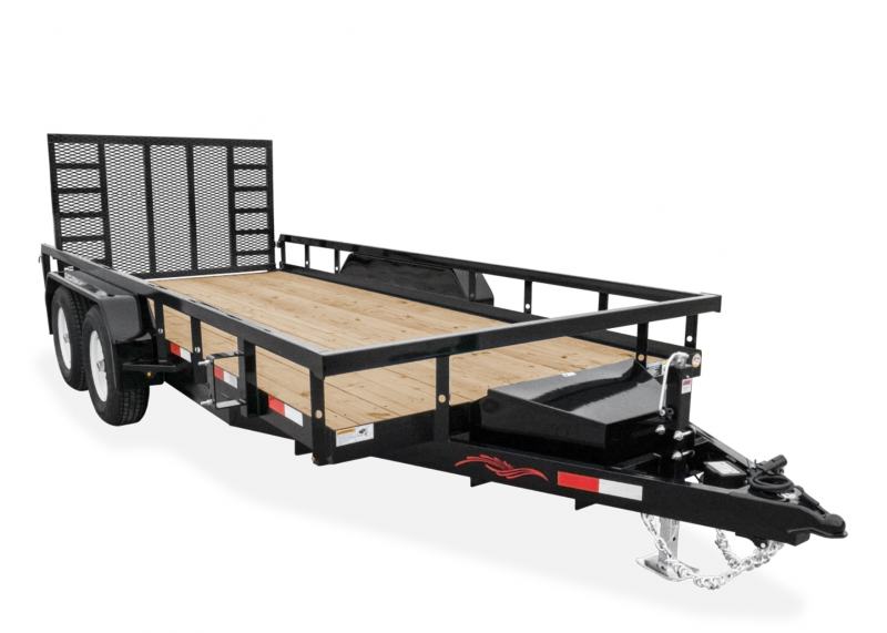 2021 TRAILERMAN BLACK 82X18 HEAVY DUTY TANDEM AXLE RAILSIDE UTILITY TRAILER