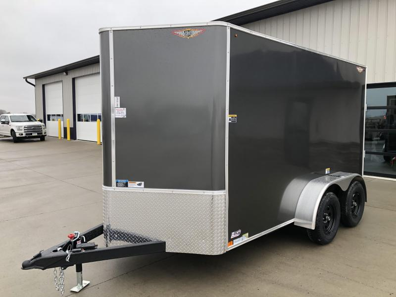2022 H&H Trailers Charcoal 7x12 Tandem Flat Top V-Nose Enclosed Cargo Trailer