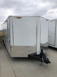 "2020 H AND H TRAILERS 101""X 20' WHITE CARGO 5.2K AXLES ENCLOSED CAR HAULER V-NOSE TRAILER"