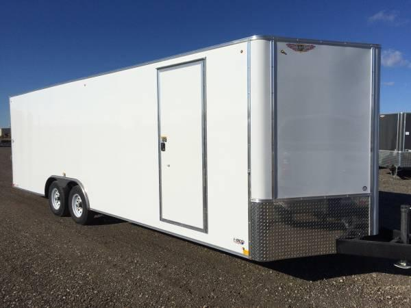 "2021 H&H 101""x20' WHITE FLAT TOP V-NOSE 10K ENCLOSED CARHAUL TRAILER"