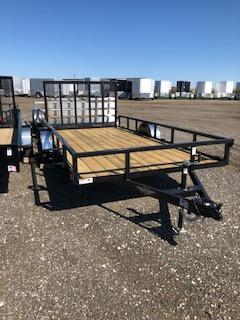 2021 H&H Black 82X16 Tandem Axle Rail Side Utility Trailer