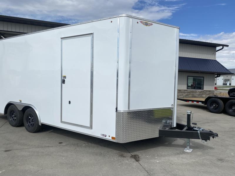 2022 H&H White 8.5x18 Tandem Flat Top V-Nose Enclosed Cargo Trailer