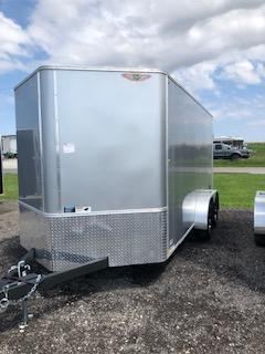 2021 H AND H 7x14 SILVER MIST FLAT TOP V-NOSE TANDEM AXLE CARGO TRAILER