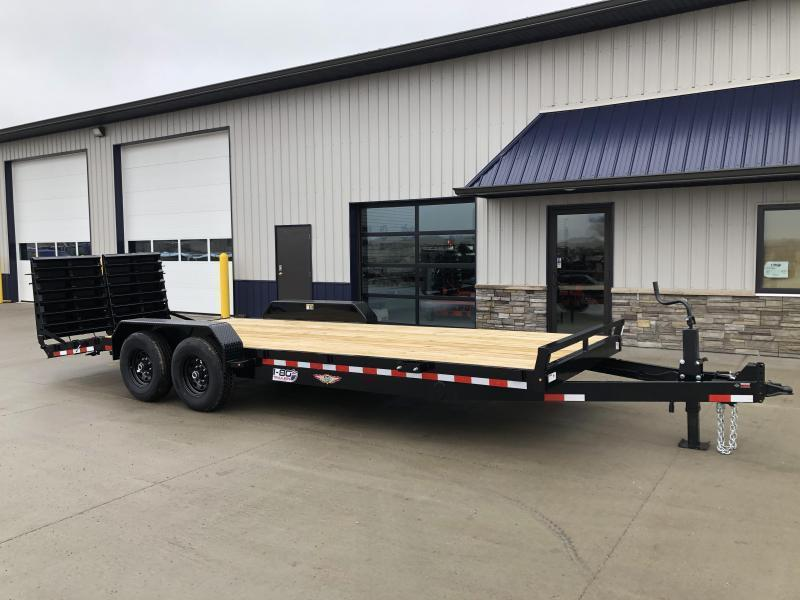 """2020 H and H Trailer 82""""x18+4' Super Deluxe Industrial 7k Axles Equipment Trailer"""