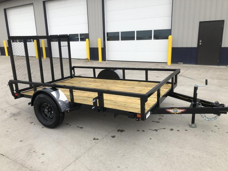 2021 H AND H BLACK 76X12 STEEL RAIL SIDE SINGLE AXLE UTILITY TRAILER