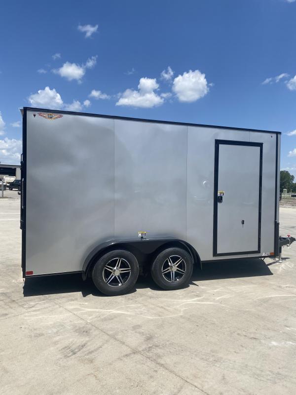 2021 H&H Trailers Silver/Blackout Trim 7x14 Flat Top V-Nose Enclosed Cargo Trailer