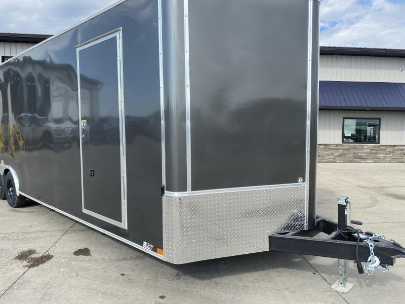 2022 H&H Trailers Charcoal 8.5x28 10k Flat Top V-Nose Enclosed Cargo Trailer