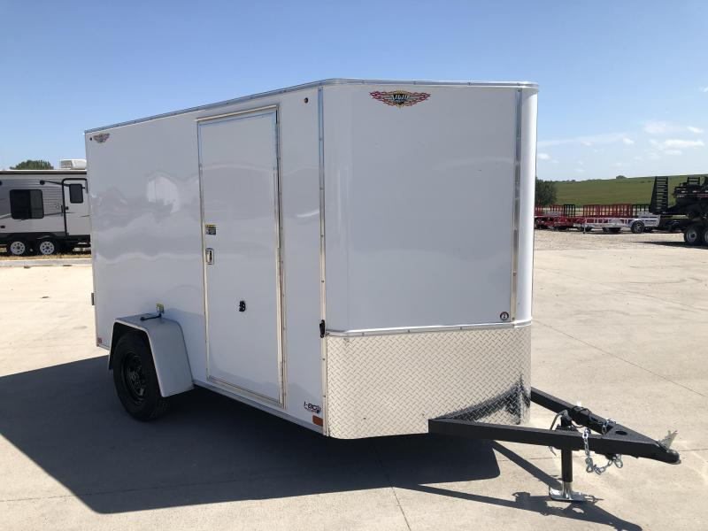2022 H&H White 5X10 Single Axle Flat Top V-Nose Enclosed Trailer