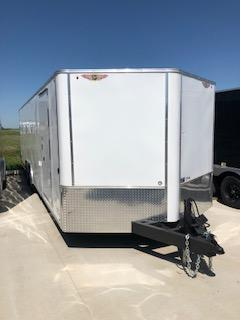 2021 H&H 8.5X24 WHITE FLAT TOP V-NOSE 10K ENCLOSED CAR HAULER