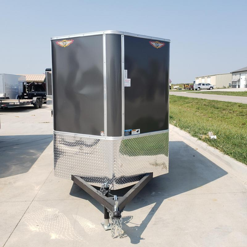 2021 H&H 5x10 CHARCOAL SINGLE FLAT TOP V-NOSE 3.5K CARGO TRAILER