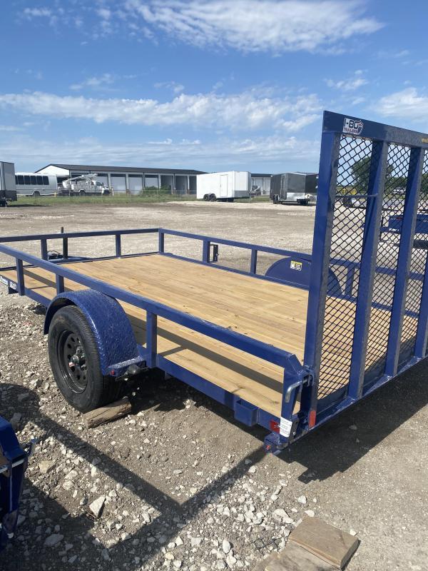 2021 H&H Trailers Blue 82x12 Single Axle Rail Side Utility Trailer