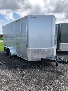 2021 H&H 7X16 SILVER MIST FLAT TOP V-NOSE TANDEM AXLE ENCLOSED CARGO TRAILER