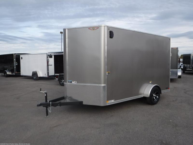 2021 H&H CHARCOAL 7x12 FLAT TOP V-NOSE SINGLE AXLE CARGO TRAILER
