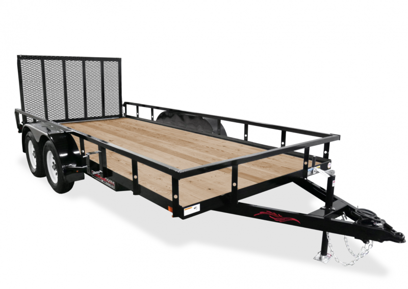 2021 TRAILERMAN BLACK 82X18 TANDEM AXLE RAILSIDE UTILITY TRAILER