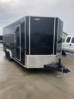 2021 H AND H 8X18 BLACK ENCLOSED FLAT TOP V-NOSE CARGO TRAILER WITH 5.2K AXLES