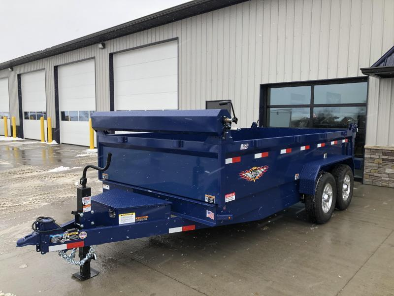 "2021 H&H 83""x14' BLUE DBW DUMP BOX WITH 7K AXLES"