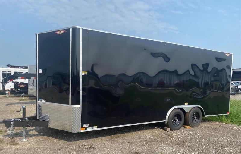 2022 H&H Black 8.5X20 7K Tandem Axle Flat Top V-Nose Enclosed Trailer