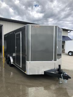 2021 H&H CHARCOAL 8.5X18 TANDEM FLAT TOP V-NOSE 10K CARGO TRAILER