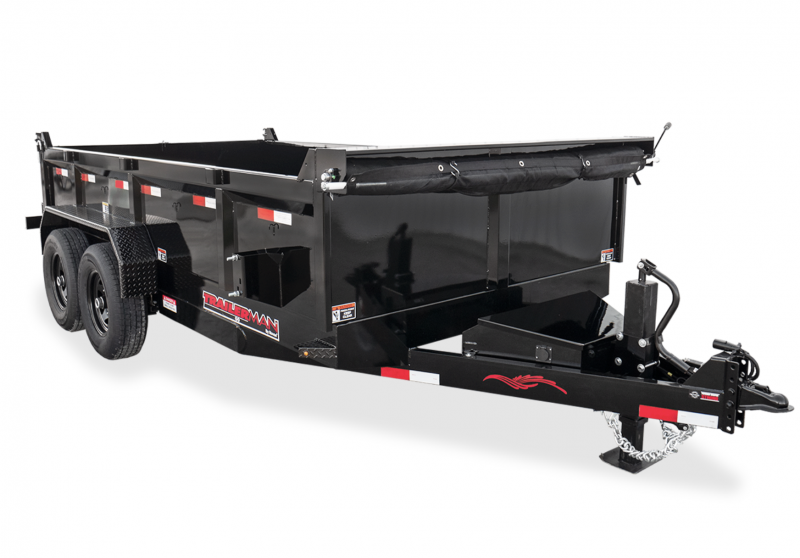 2021 TRAILERMAN BLACK 83X16 TANDEM HYDRAULIC DUMP TRAILER